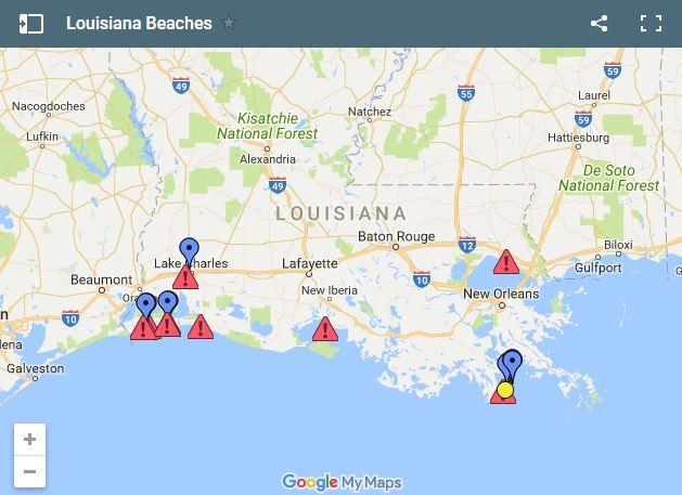 map of louisiana beaches Swim Advisory Issued For 9 Louisiana Beaches Due To Bacteria map of louisiana beaches