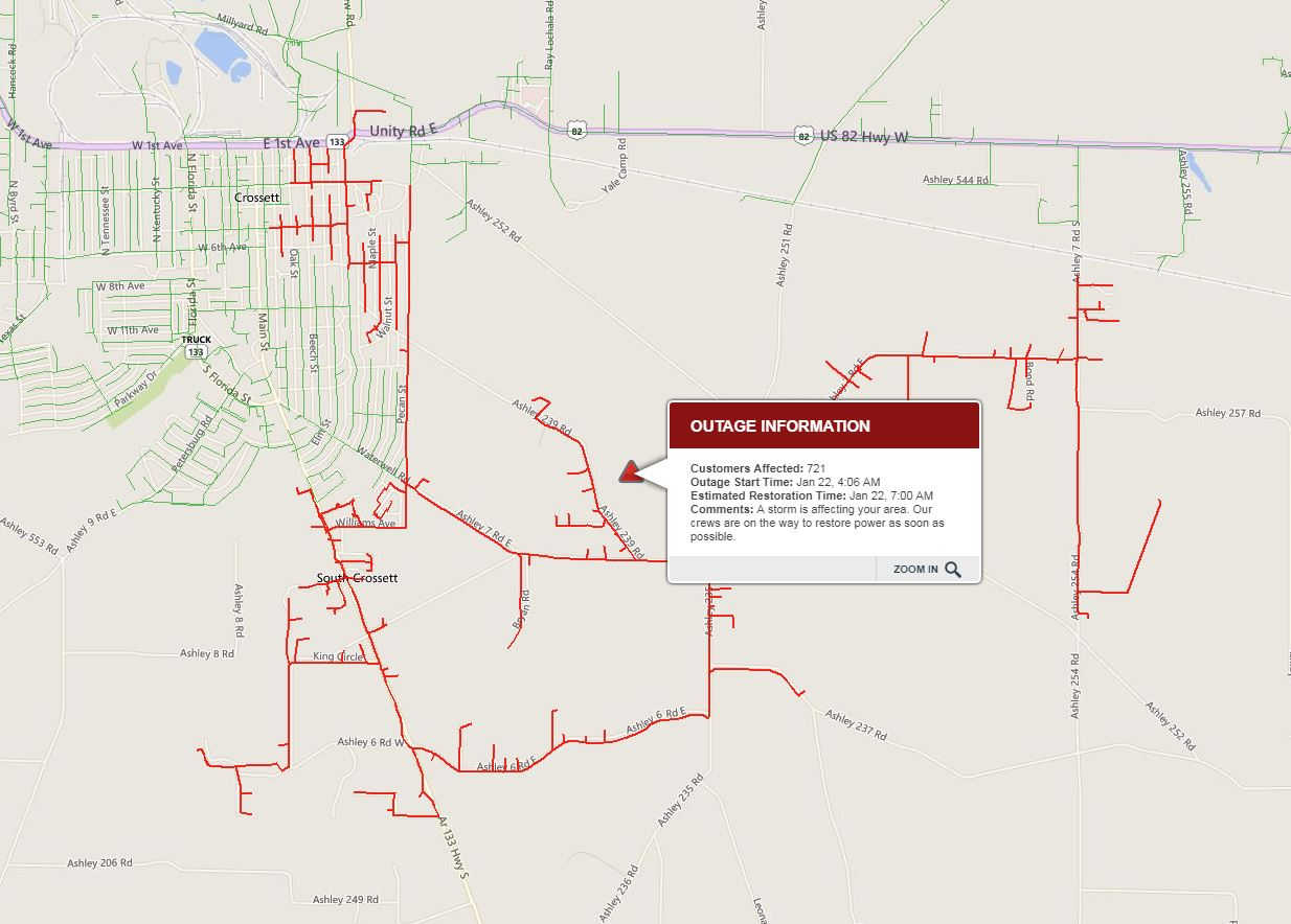 Power Outages across the ArkLaMiss