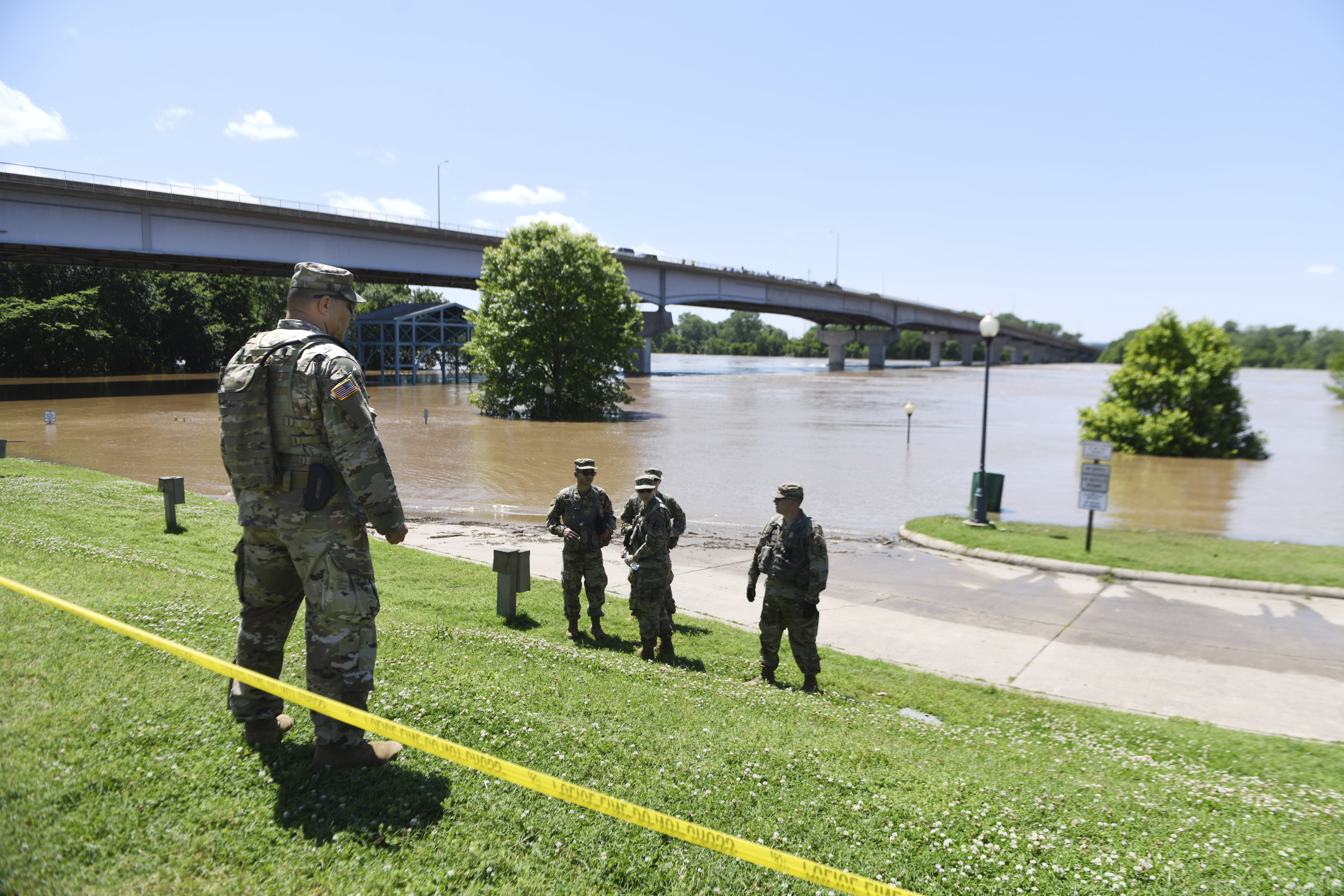 Levee breach in western Arkansas due to record flooding