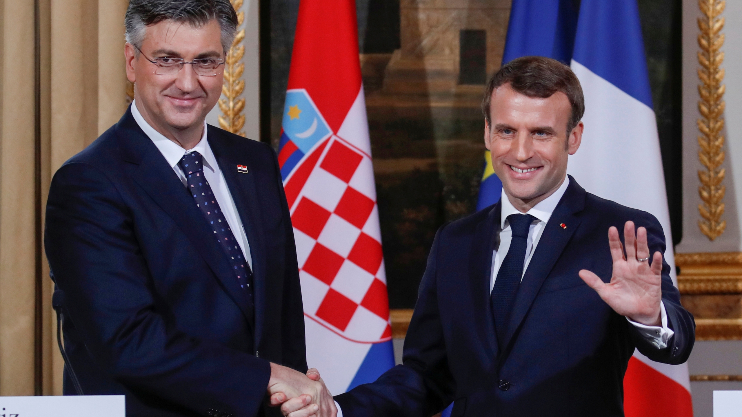French President Emmanuel Macron meets Croatian Prime Minister Andrej Plenkovic in Paris