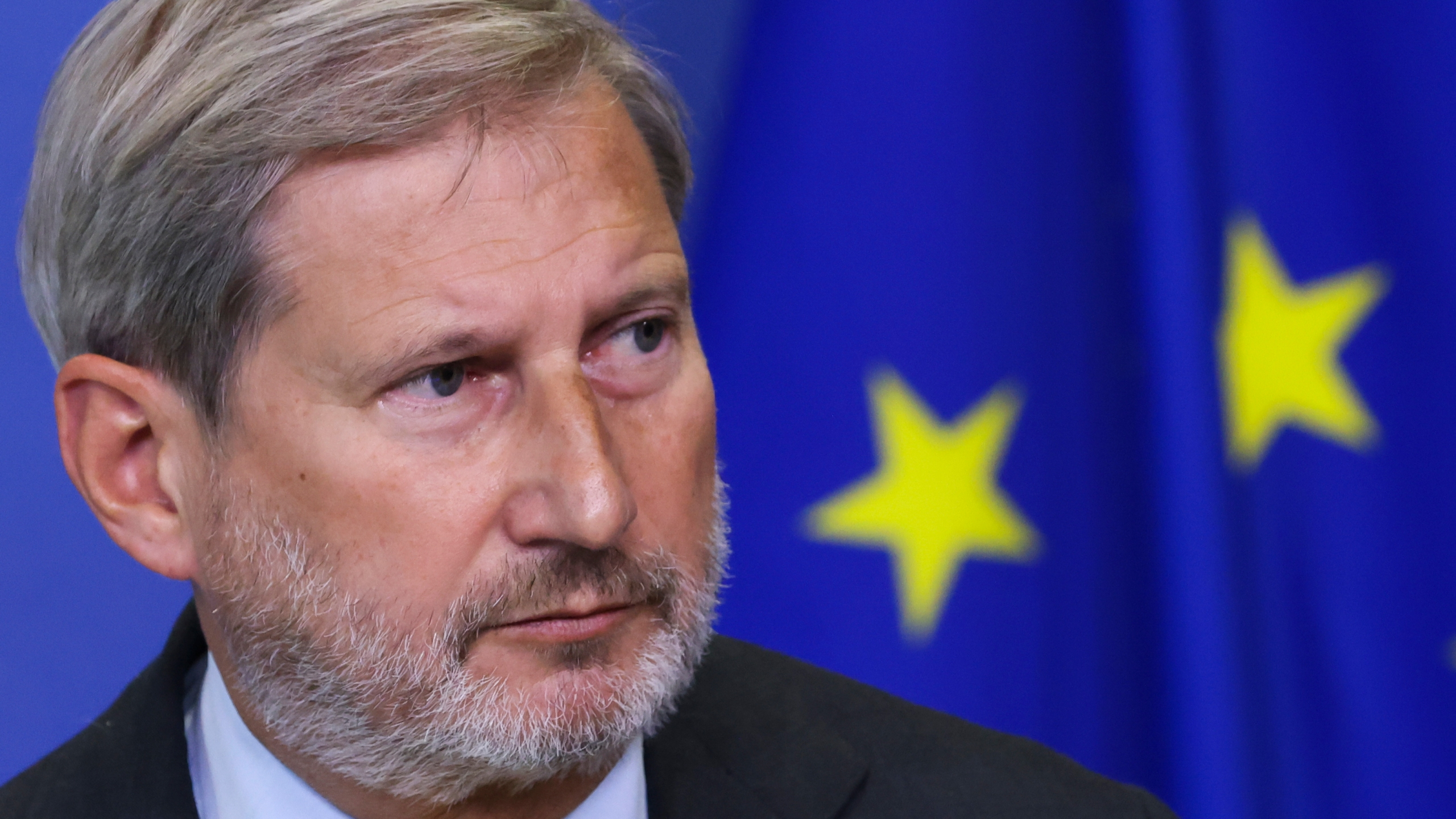 EU Commissioner for Budget Hahn holds a news conference on NextGenerationEU green bonds, in Brussels